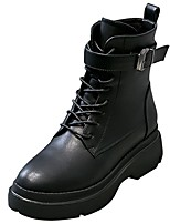 cheap -Women's Shoes Synthetic Microfiber PU Winter Combat Boots Boots Flat Heel Round Toe Mid-Calf Boots for Casual Black