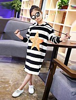 cheap -Girl's Striped Dress,Cotton Spring Fall Long Sleeves Simple Black Gray