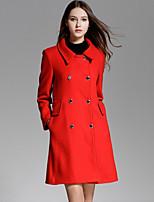 Недорогие -Для женщин На выход На каждый день Зима Осень Пальто Рубашечный воротник,Простой Уличный стиль Изысканный Однотонный Обычная Длинные