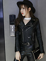 cheap -Women's Going out Street chic Punk & Gothic Fall Leather Jacket,Solid Shirt Collar Long Sleeve Regular PU Oversized