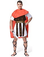 cheap -Gladiator Ancient Greek Costume Men's Costume Cocktail Dress Red/White Vintage Cosplay Cloth Demin ½ Length Sleeve Lolita Knee Length
