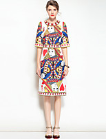 Mary Yan & Yu Women's Going out Casual/Daily Boho Street chic A Line Dress,Print Round Neck Midi Half Sleeve Polyester Spandex Spring Summer Mid Rise