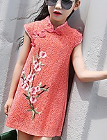 cheap -Girl's Daily Embroidered Dress,Cotton Summer ½ Length Sleeve Chinoiserie Orange