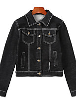 cheap -Women's Daily Casual Fall Denim Jacket,Solid Shirt Collar Long Sleeve Regular Others