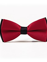 cheap -Men's Polyester Bow Tie,Simple Casual Solid Color All Seasons Wine