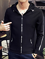 cheap -Men's Casual/Daily Hoodie Solid Hooded Micro-elastic Cotton Long Sleeve Fall