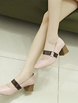 Women's Shoes PU Fall Comfort Heels Chunky Heel Pointed Toe Closed Toe for Casual Almond Pink