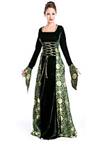 cheap -Medieval Costume Women's Masquerade Green/Black Vintage Cosplay Polyester Long Sleeves Bell Floor Length