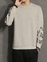 cheap -Men's Casual/Daily Simple Sweatshirt Print Round Neck Micro-elastic Cotton Long Sleeve Fall