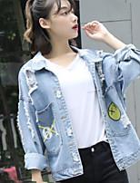 cheap -Women's Daily Going out Casual Winter Fall Denim Jacket,Print Shirt Collar Long Sleeve Regular Cotton Oversized