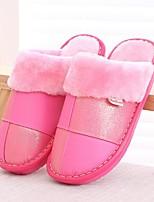 Недорогие -Для женщин Обувь Полиуретан Зима Осень Удобная обувь Тапочки и Шлепанцы Плоские Круглый носок для Повседневные Серый Лиловый Розовый