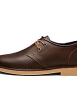 Недорогие -Для мужчин обувь Кожа Зима Осень Удобная обувь Туфли на шнуровке для Повседневные Черный Коричневый