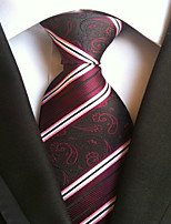 cheap -Men's Polyester Necktie,Work Casual Striped All Seasons Fuchsia