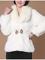 Недорогие -Жен. На выход На каждый день Зима Осень Пальто с мехом Рубашечный воротник,Уличный стиль Однотонный Обычная Длинные рукава,Искусственный