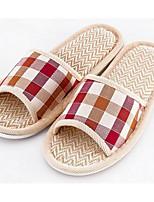 Недорогие -Для женщин Обувь Хлопок Лён Резина Зима Удобная обувь Тапочки и Шлепанцы Плоские для Повседневные Кофейный Морской синий Красный Розовый