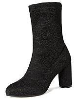 Недорогие -Для женщин Обувь Искусственное волокно Зима Осень Удобная обувь Ботинки Блочная пятка Заостренный носок Сапоги до середины икры для