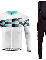 cheap -Cycling Jersey with Bib Tights Unisex Long Sleeves Bike Jersey Clothing Suits Bike Wear Fast Dry Geometric Cycling / Bike Blue Green