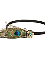 cheap -The Great Gatsby Headband 1920s Cyan Feather Cosplay Accessories Masquerade