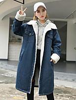 economico -Giacca di jeans Da donna Per uscire Semplice Inverno Autunno,Tinta unita Colletto Nylon Lungo Maniche lunghe Collage