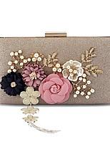 preiswerte -Damen Taschen Polyester Abendtasche Blume(n) Perlen Verzierung Quaste für Hochzeit Veranstaltung / Fest Alle Jahreszeiten Champagner Rosa