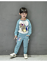 cheap -Girls' Daily Print Clothing Set,Cotton Polyester Spring Casual Blushing Pink Light Blue