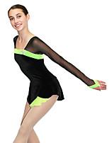 economico -Vestito da pattinaggio artistico Per donna Da ragazza Pattinaggio sul ghiaccio Vestiti Nero Anelastico Prestazioni Esercitazione Vestiti