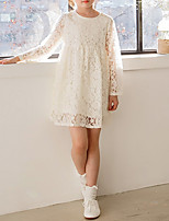 Girl's Casual/Daily Solid Dress,Polyester Winter Fall Long Sleeves Simple Beige