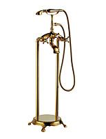 Недорогие -Ар деко/ретро Ванна и душ Водопад Ручная лейка входит в комплект Медный клапан Ti-PVD , Смеситель для ванны