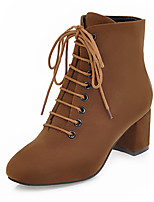 cheap -Women's Shoes Nubuck leather Winter Fall Fashion Boots Bootie Boots Chunky Heel Square Toe Booties/Ankle Boots Mid-Calf Boots for Office