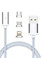 billiga -Belysning / USB 3,1 / Typ-C Allt-i-1 / Flätad / Magnet Kabel Macbook / iPad / Samsung för 100 cm Till Aluminum / Nylon / TPE