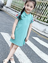 cheap -Girl's Daily Embroidered Dress,Cotton Summer ½ Length Sleeve Chinoiserie Green