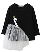 cheap -Girl's Going out Casual/Daily Solid Floral Swan Dress,Cotton Spring Fall Long Sleeves Cute Active Cartoon Black Blushing Pink