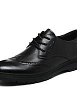 Недорогие -Для мужчин обувь Кожа Весна Осень Удобная обувь Туфли на шнуровке для Повседневные Черный