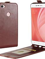 Недорогие -Кейс для Назначение Xiaomi Redmi Примечание 5A Redmi 4X Бумажник для карт Флип Чехол Сплошной цвет Твердый Кожа PU для Redmi Note 5A