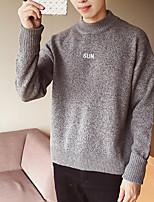 preiswerte -Herren Standard Pullover-Ausgehen Einfach Druck Rundhalsausschnitt Langarm Polyester Winter Undurchsichtig Mikro-elastisch