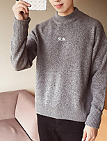 abordables -Hombre Regular Pullover Noche Simple,Estampado Escote Redondo Manga Larga Poliéster Invierno Opaco Microelástico