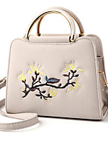 cheap -Women Bags PU Polyester Tote Embroidery Zipper for Casual All Season Khaki Light Grey Purple Blushing Pink Black