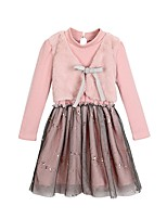 Girl's Casual/Daily Solid Dress,Faux Fur Polyester Winter Fall Long Sleeves Simple Blushing Pink