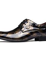 abordables -Hombre Zapatos Cuero Patentado Primavera Otoño Confort Oxfords para Casual Dorado Gris Azul Borgoña