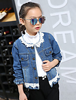 cheap -Girls' Solid Jacket & Coat,Cotton Bamboo Fiber Spandex Long Sleeves Vintage Blue