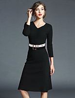 cheap -Women's Daily Going out Casual Street chic A Line Sheath Dress,Solid V Neck Knee-length 3/4 Sleeve Cotton Polyester Winter Summer High