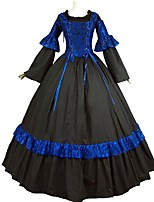 cheap -Victorian Renaissance Costume Women's Adults' One Piece Dress Outfits Masquerade Black and Blue Vintage Cosplay Pure Cotton Long Sleeves