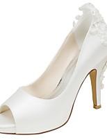 Femme Chaussures Satin Elastique Printemps Automne Escarpin Basique Chaussures de mariage Talon Aiguille Bout ouvert Perle pour Habillé