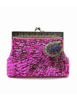 cheap -Women Bags Silk Evening Bag Sequins for Event/Party All Season Fuchsia Silver Blue