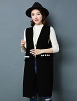 cheap -Women's Casual/Daily Simple Winter Fall Vest,Solid Round Neck Sleeveless Long Cotton Acrylic