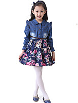 cheap -Girl's Daily Holiday Floral Dress,Cotton All Seasons Long Sleeves Cute Casual Yellow Navy Blue