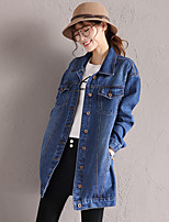 preiswerte -Damen Solide Retro Alltag Jeansjacke,Hemdkragen Herbst Langärmelige Standard Baumwolle
