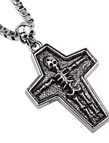 cheap -Men's Cross Skull Vintage Cool Pendant Necklace Chain Necklace , Alloy Pendant Necklace Chain Necklace , Street Club