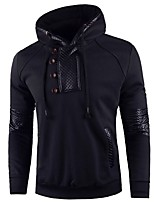 cheap -Men's Daily Casual Hoodie Solid Hooded Inelastic Cotton Polyester Long Sleeve Winter Fall