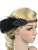 cheap -The Great Gatsby Headband 1920s Black White Brown Golden Feather Cosplay Accessories Masquerade